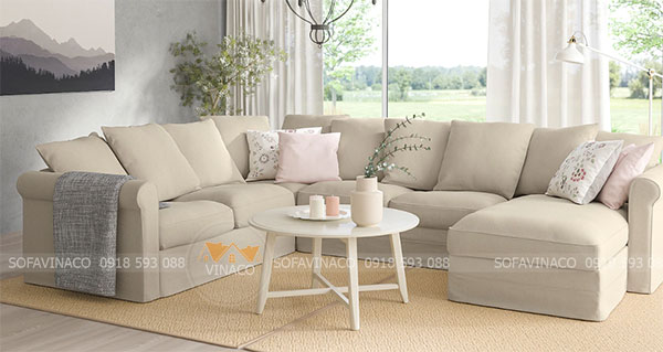 Ghế sofa sau khi được bọc lại của Công ty Vinaco