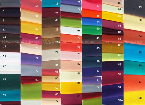 Gần 100 màu ga ghế khác nhau để chọn lựa
