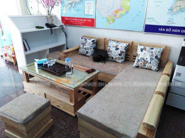Bộ đệm ghế được làm từ chất vải nỉ nhung và đệm bông ép cho khách hàng ở Phúc La, Hà Đông