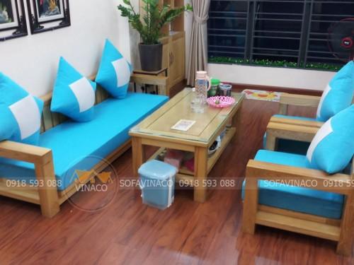 Đệm cho ghế gỗ hiện đại màu xanh tươi tắn