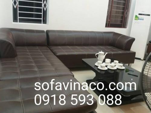 Bọc ghế sofa da màu hạt dẻ tại Âu Cơ
