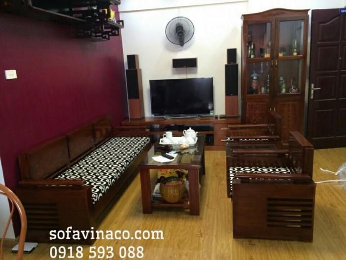 Bộ đệm ghế rất vừa vặn với bộ ghế sofa gỗ nhà anh