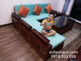 Bộ đệm ghế xanh ngọc đã làm xong cho gia đình sống tại Hồ Tùng Mậu