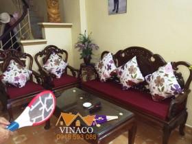 Bộ đệm ghế giả cổ tuyệt đẹp đã là xong cho bác Hợi ở Nam Từ Liêm