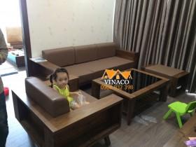 Bộ đệm ghế da 20cm đã hoàn thành cho gia đình anh Nam ở Phạm Văn Đồng