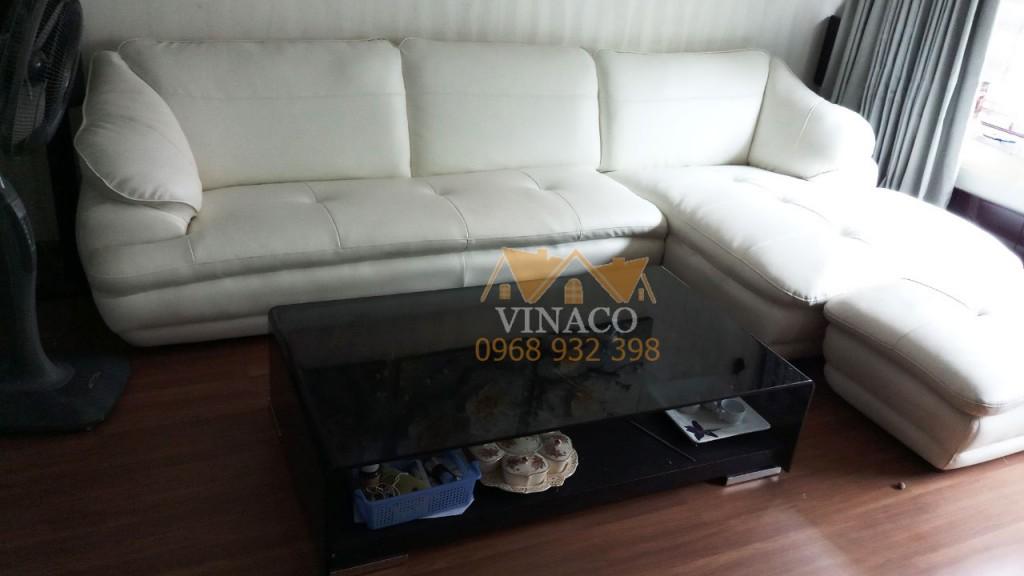 Bộ ghế sofa đã thay vỏ mới bằng giả da