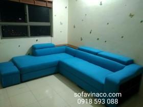 Bọc ghế sofa vải nỉ màu xanh