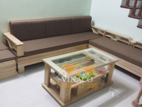 Bộ đệm ghế gỗ L màu nâu - một màu khá sạch và được nhiều khách hàng chọn lựa