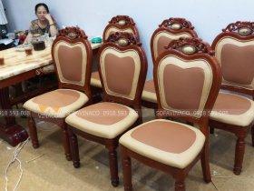 Dịch vụ bọc ghế ăn chuyên nghiệp cho gia đình bác Huệ ở Giang Xá, Hoài Đức