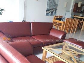 Bộ ghế sofa đã được thay da mới màu nâu đỏ