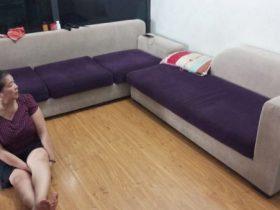 Bộ ghế sofa vải nhung của bác Lan Anh ở Khu đô thị Việt Hưng