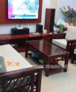 Bộ đệm ghế gỗ với phòng cách hiện đại của gia đình ở Trần Khắc Chân, Hai Bà Trưng