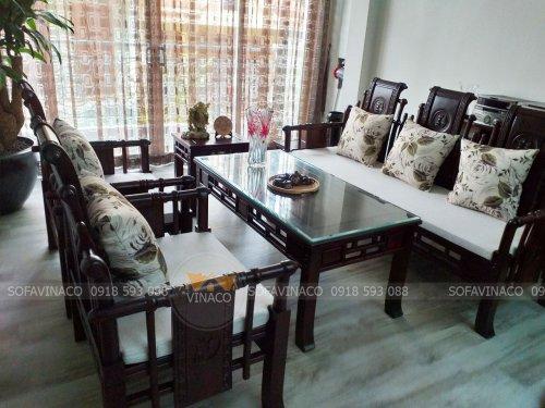 Bộ đệm ghế gỗ đã giao chi gia đình chị Thúy anh ở Hoàng Mai