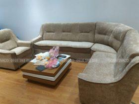 Bộ ghế sofa được bọc lại với chất liệu nỉ nhung rất đẹp và dày