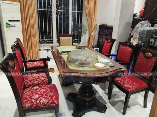 Bọc lại ghế ăn vải đỏ tại Vinaco