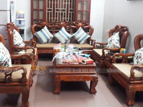 Bộ đệm ghế giả cổ đã làm xong cho gia đình ở Trần Quốc Vượng, Dịch Vọng Hậu, Cầu Giấy