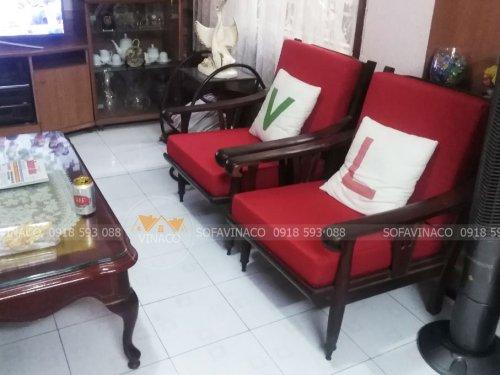 Bộ đệm cho bộ ghế gỗ xưa của gia đình ở Long Biên đã được hoàn thành xuất sắc
