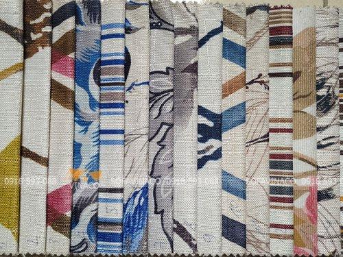 Các mẫu vải hoa với họa tiết và kiểu dệt khác nhau