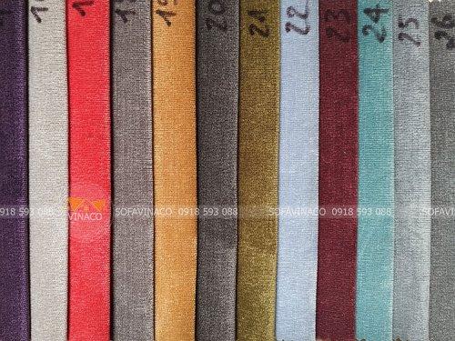 Các màu của mẫu vải nhung N49 chuyên dùng trong sản xuất ghế sofa