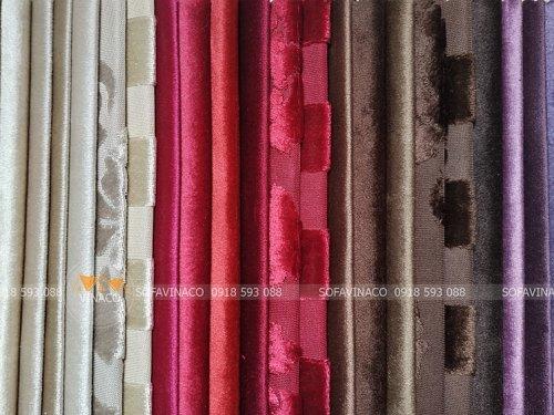 Bảng màu của mẫu vải nhung TM-11