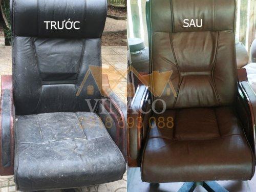 So sánh sự khác biệt giữa trước và sau khi bọc lại ghế giám đốc