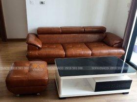 Bộ sofa đã được bọc lại bằng da mới, đổi màu mới
