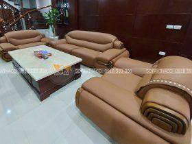 Dịch vụ bọc lại sofa da của Vinaco đã hoàn thành xuất sắc công trình bọc ghế lần này