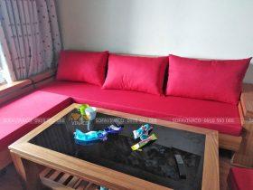 Bộ đệm ghế bông ép đã làm xong cho chị Linh ở Linh Đàm