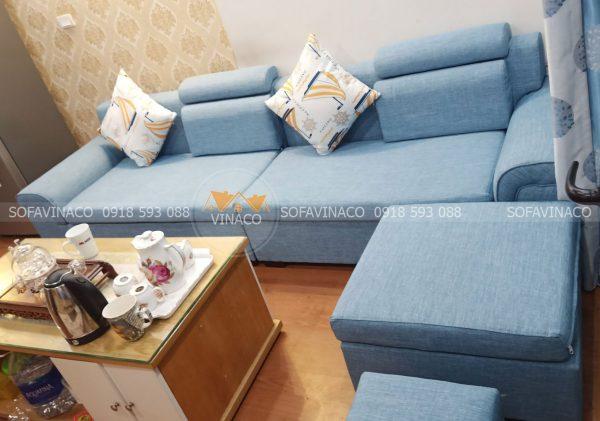 Bộ sofa giá rẻ đã được bọc lại bằng vải thô mới