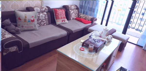 Toàn cảnh bộ ghế sofa giá rẻ của gia đình khách hàng ở Green Star Phạm Văn Đồng