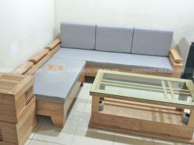 Bộ đệm ghế sofa gỗ L mà Vinaco đã giao đến cho anh Hạnh ở Ecohome Bắc Từ Liêm