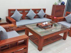 Bộ đệm ghế gỗ màu ghi xanh của anh Thu ở Nguyễn Đức Thuận Gia Lâm