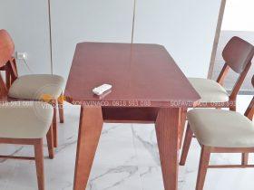 Bộ ghế bàn ăn đã được bọc đệm vỏ da