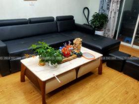 Vinaco đã hoàn thành việc bọc lại da cho bộ sofa này