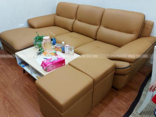 Ghế sofa được bọc lại bằng da mới đẹp và sang trọng