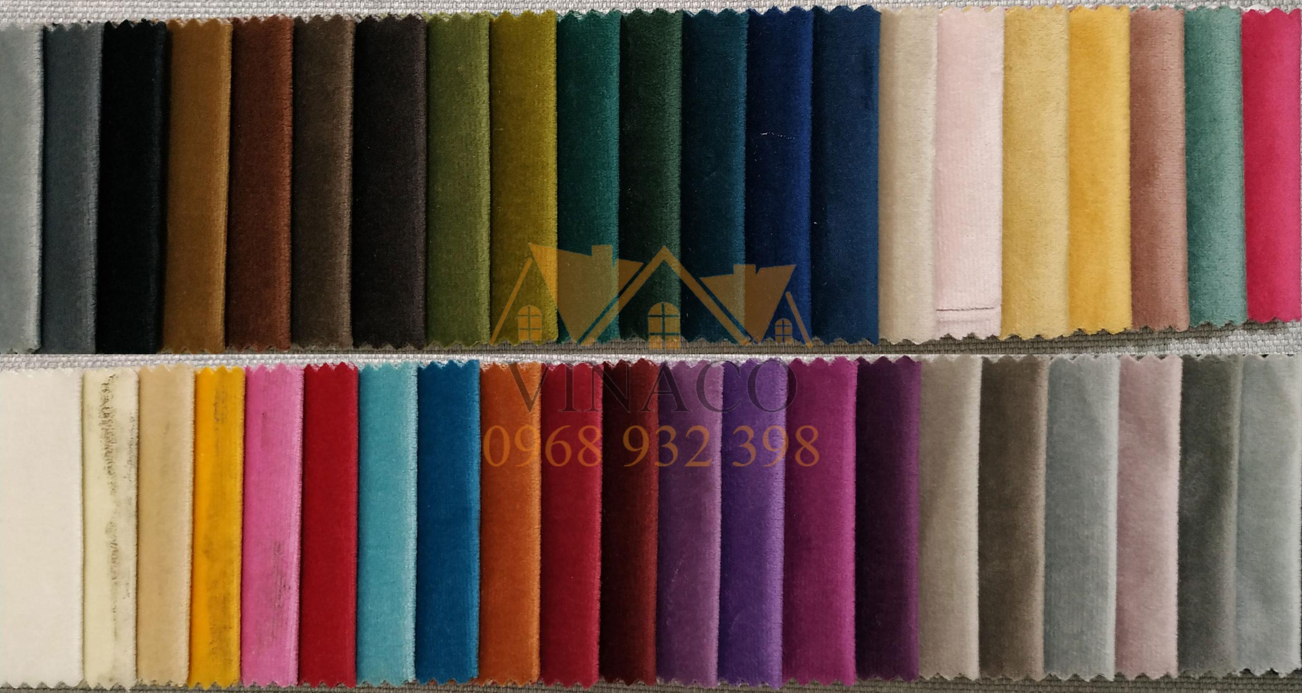 Bảng màu của mẫu vải nhung H17