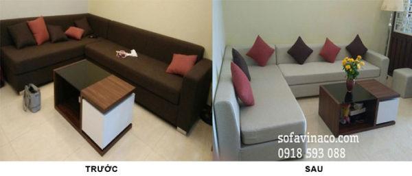 Làm mới phòng khách hiệu quả bằng cách bọc lại ghế sofa