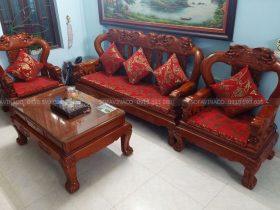 Đệm ghế gỗ TM05 cho chị Hằng tại Tân Lập, Đan Phượng