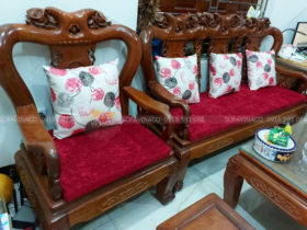 Bộ đệm ghế gỗ giả cổ đã giao cho khách hàng tại Nguyễn Du