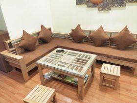 Bộ đệm ghế màu nâu đã giao cho chị Phương ở Kim Văn Kim Lũ, Hoàng Mai