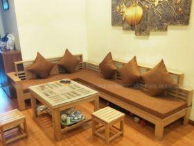 Bộ đệm ghế gỗ 7cm bông ép vải thô