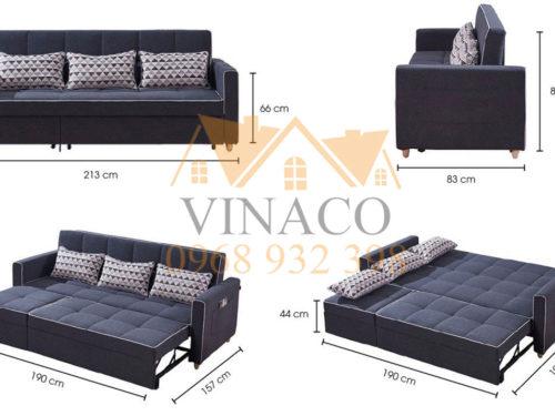 Kích thước và kiểu dáng của mẫu ghế sofa giường 3 trong 1