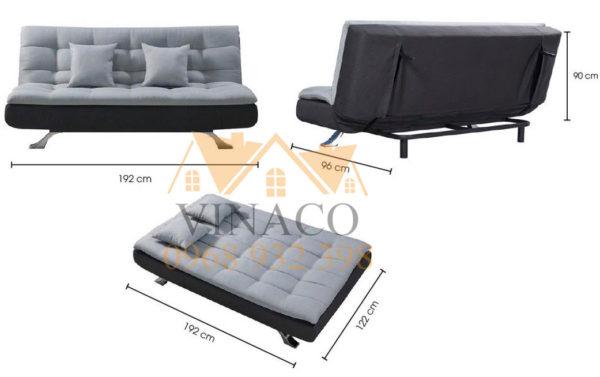 Kích thước của mẫu ghế sofa giường không tay vịn