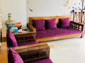Bộ vỏ đệm ghế gỗ màu tím của chị Hà ở Sơn La