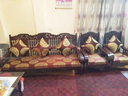 Đệm ghế bằng vải gấm cho ghế gỗ lim xưa