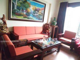 Bộ đệm ghế màu cam đào đặc biệt đã được làm xong cho anh Hải ở Tôn Đức Thắng