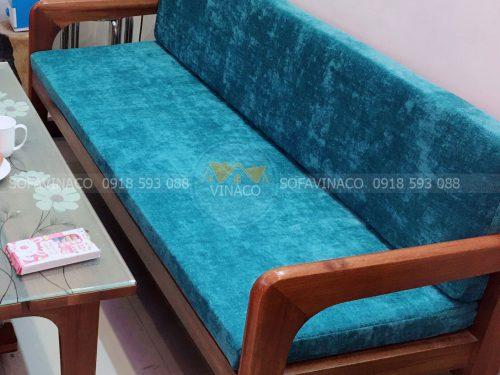 Bộ đệm ghế vải nỉ nhung màu xanh tươi tắn