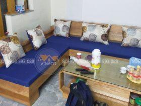 Đệm ghế gỗ L nhà anh Thắng tại ngõ 421 Xuân Đỉnh, Hà Nội