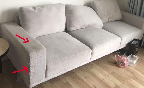 Bộ sofa cũ bị mèo cào thành ghế và bám bẩn nghiêm trọng