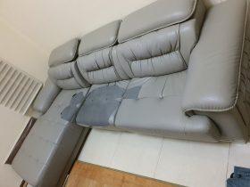 Bộ sofa da bị rách của khách hàng ở Mễ Trì